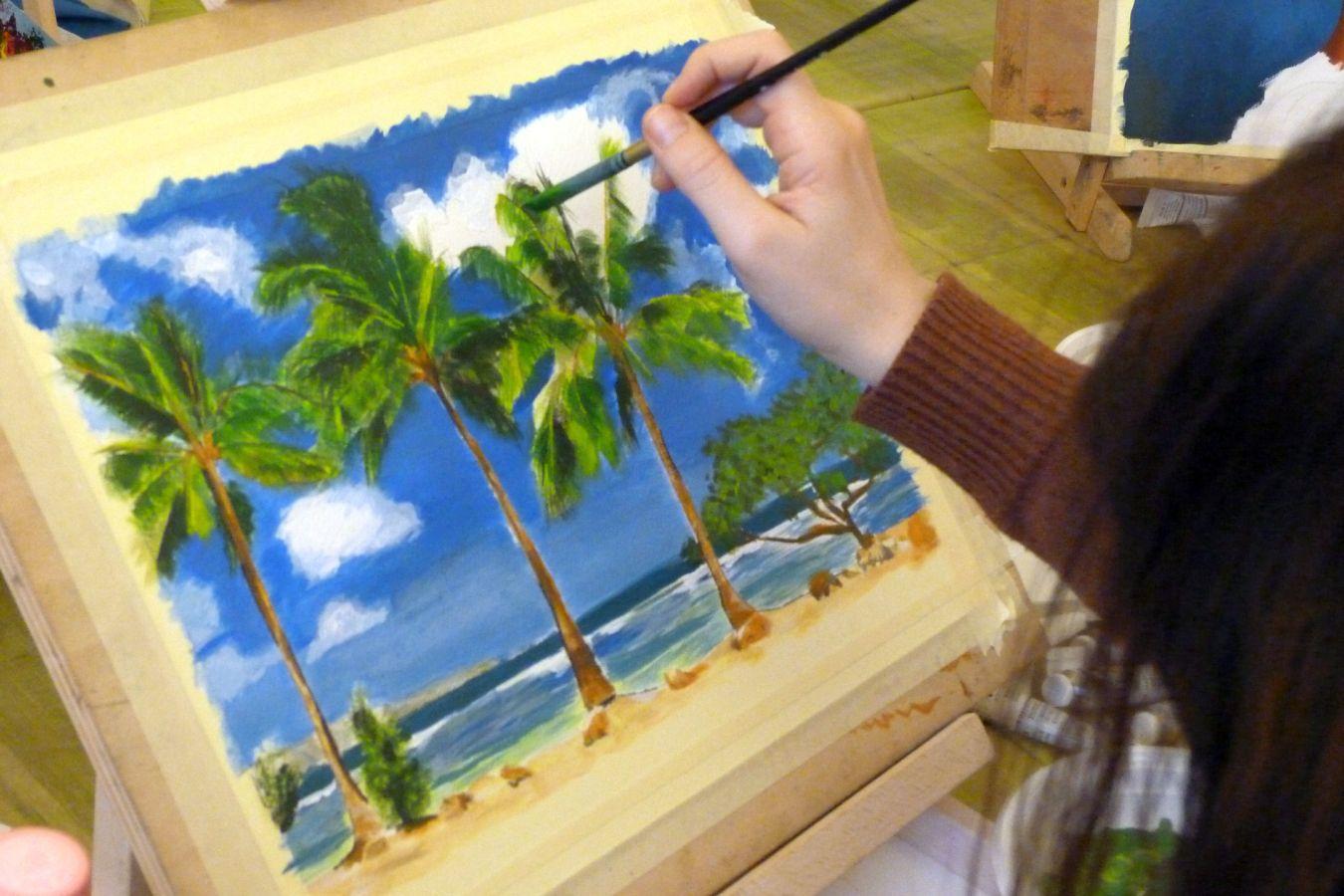 Festőtanfolyam munka közben