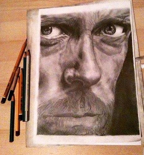 Jobb agyféltekés rajzolás módszerével készült portré
