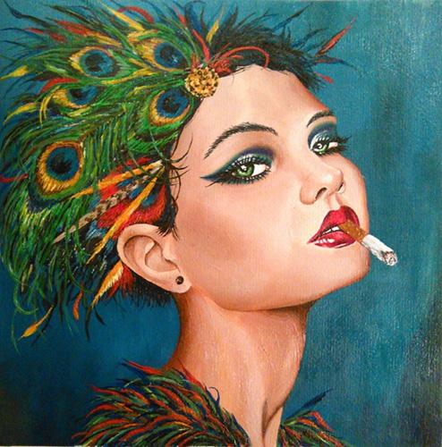 Online festőtanfolyam segítségével készült akril festmény