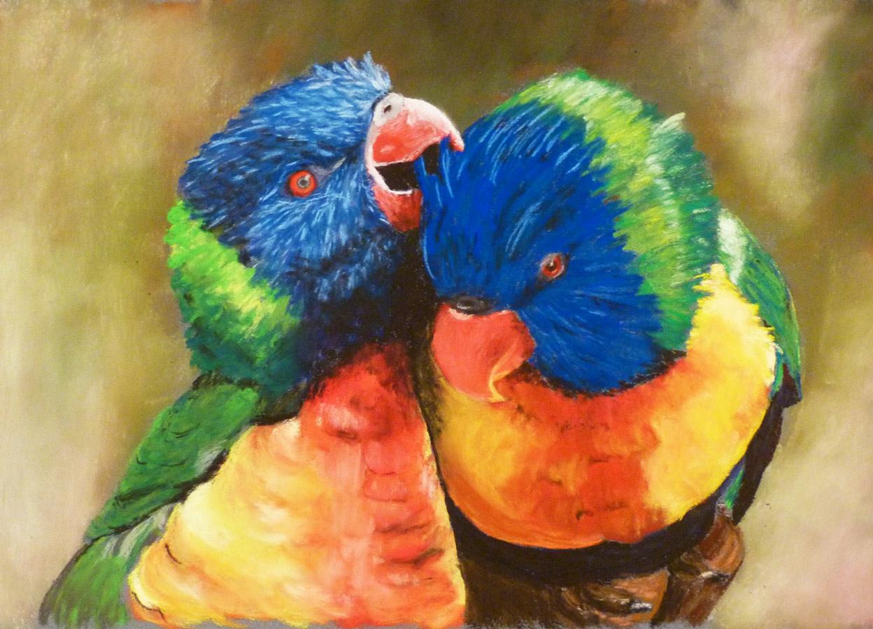 Jobb agyféltekés pasztell tanfolyam 2.szint állat papagáj festés porpasztell