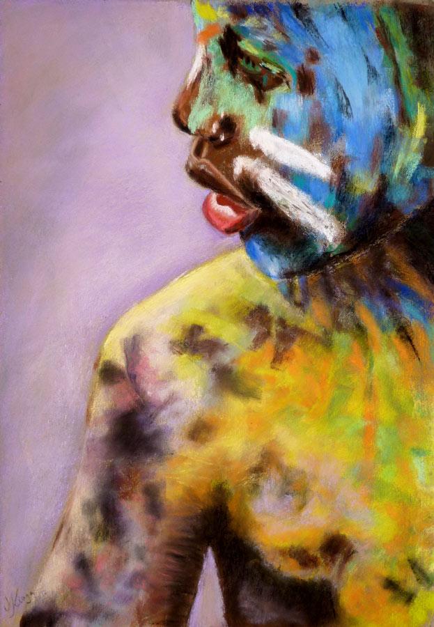 Jobb agyféltekés pasztell tanfolyam 3.szint portré festés porpasztell
