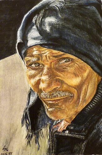 Akvarell ceruzás tanfolyamon készült portré